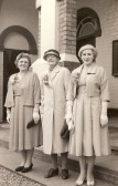 Evelyn Taylor, Mabel Denham and Doris Wade attending the marriage of Fred Owen and Mary Taylor at Salem Baptist Chapel, Ramsey.