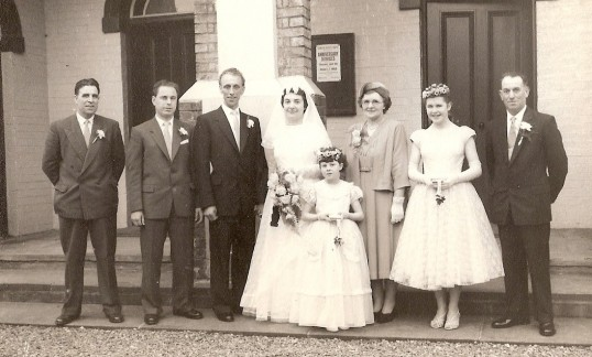 The marriage of Fred Owen and Mary Taylor at Salem Baptist Chapel, Ramsey