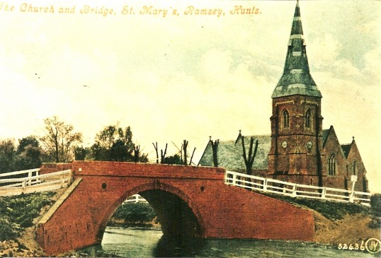 Ramsey St. Mary's Church and Bridge. Prior to removal of the spire in 1920.