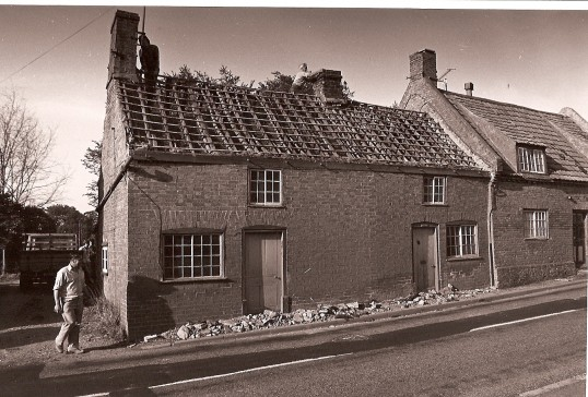 Demolition of houses next to Babinda House, High Street, Bury, by local builder Ron Housden