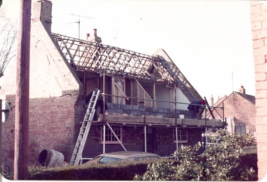 Restoration work to Babinda House, High Street, Bury. The doorway at the front is now a false entry. The house is c1730