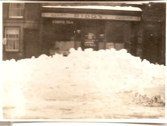 Snowed in, Riddy's shop at 61 Great Whyte, Ramsey (now occupied by Family Tree Magazine)