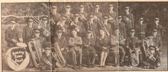 Ramsey Town Band.Gentleman in the centre is Mr. J.R. Major
