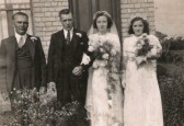 Hilda Greenwood and Sidney Price of Ramsey on their wedding day.  Attended by Ernie Greenwood and Joyce Greenwood