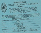 The Girls Friendly Society card of Hilda Greenwood of Ramsey.