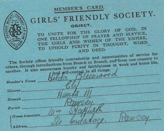 The Girls Friendly Society card of Hilda Greenwood of Ramsey.