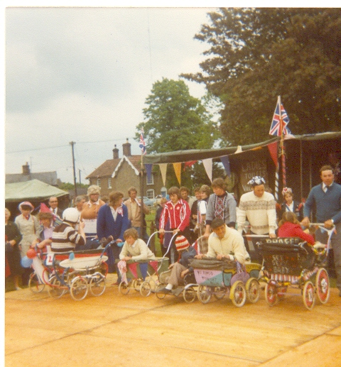 Pram Race at the Silver Jubilee Celebrations, at Ramsey Forty Foot.