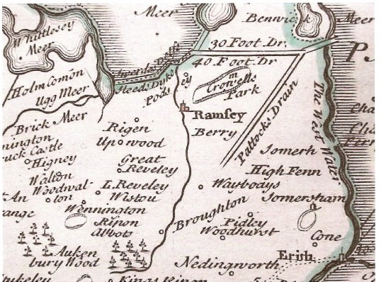 Old map Part of Huntindonshire including Ramsey and drainage system. 30 foot drain now no long exists.