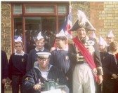 The celebration of the 2nd cenenary of Lord Nelson's death held in Ramsey. Photo taken outside 35 Great Whyte. Peter Chamberlain as Nelson.
