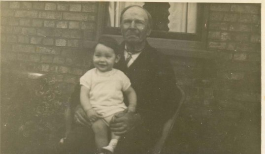 John Edwards with his Great Grand Daughter, Audrey Lambert. Photograph taken in Princes Street, Ramsey