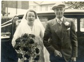 Kathleen Edwards (nee Cross) with her father Percy Cross on her wedding day, Ramsey Salem Baptist Church.