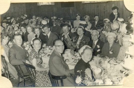 Wedding reception of Ron Seaton and Audrey Lambert at the Women Institute's hut, Ramsey.