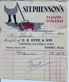 Bill for household goods G.B.Hyde & Son, Ramsey