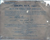 Copy of Shop Act Certificate for Female Seating from G.B.Hyde & Son's shop in Ramsey