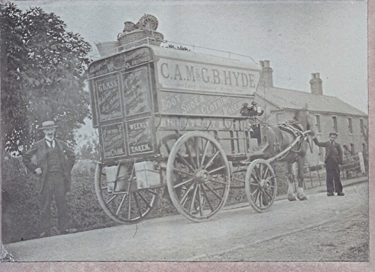 George Hyde with horse drawn van of C.A.M.& G.B.Hyde in Ramsey St Marys