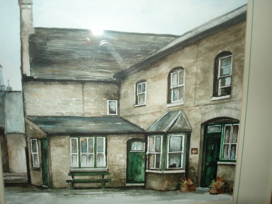 Painting showing the rear of 44 High St. Ramsey. Shop of G.B. Hyde & Son
