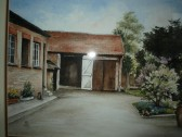 Painting of the rear and sheds at 44 High St. Ramsey. Shop of G.B.Hyde & Son