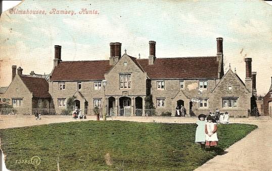 Almshouses, High Street, Ramsey.  Taken from a postcard postmarked Ramsey 26 Dec 1909