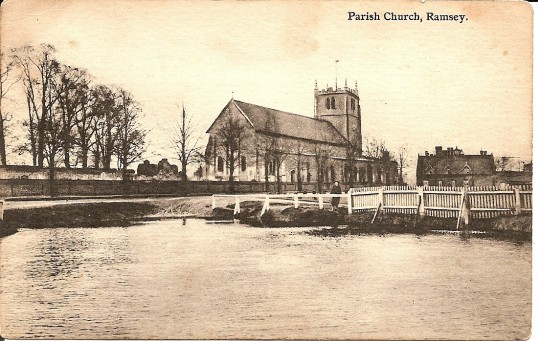 Parish Church, Ramsey taken from the North showing pond. Taken from a postcard postmarked 30 jun 1910