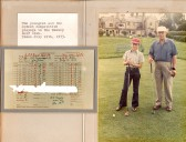 Youngest M.J. Tingey aged 12 and oldest competive member E.P Brand aged 69 at Ramsey Golf Club, with score card