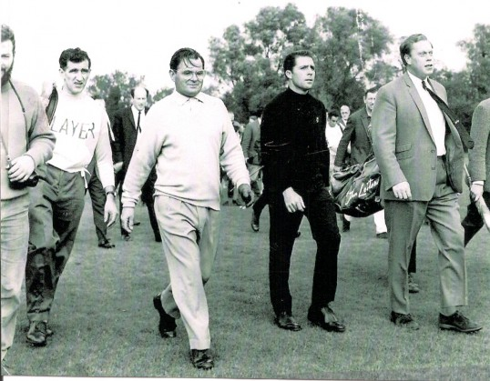 Ramsey Golf Club, official opening of the 18 hole course.Gary Player and Dai Rees with caddy Lionel Helmore.