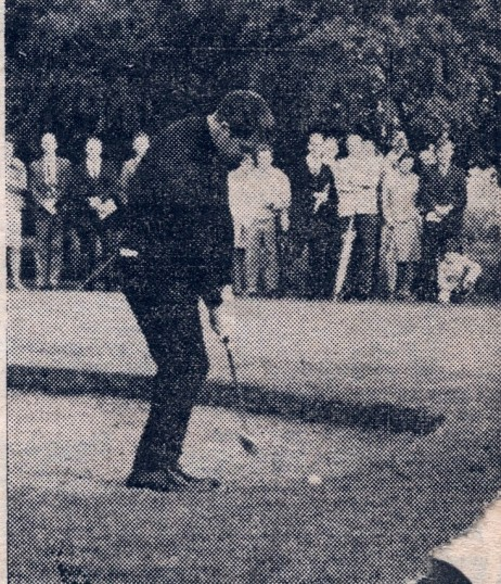 Ramsey Golf Club, official opening of the 18 hole course.Gary Player in a sand trap.