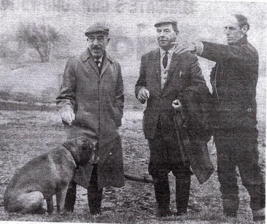 Ramsey Golf Club.Major A.L.Price, E.P.Brand &Alex Learmonth (pro & head greenkeeper) at the old railway enbankment,(15th fairway)