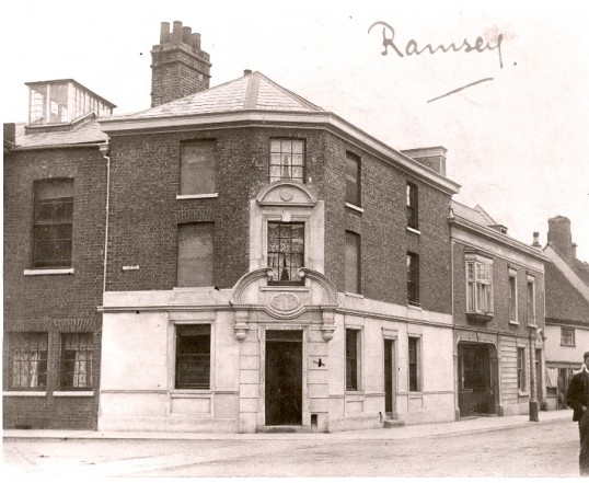 The National Provincial and Union Bank, corner of High Street and Great Whyte, Ramsey. (later known as Hyslops).Copyright RBS, see text.. The history of Natwest Bank, High Street, Ramsey