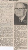 Obituary for Mr M S Payne of Whytefield Road, Ramsey