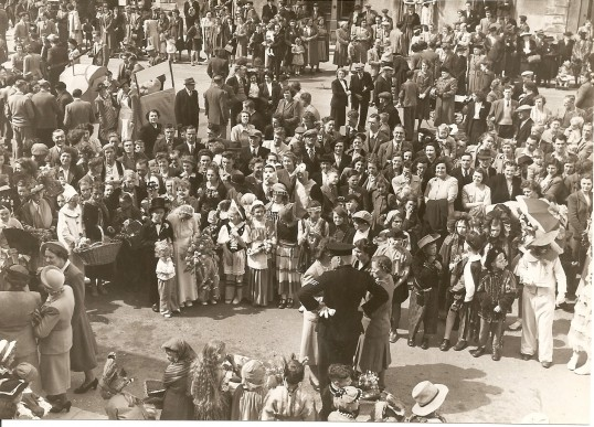 Crowd in Ramsey celebrating the Coronation