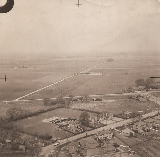 Ramsey FortyFoot from the air, showing Gazeley House home of Butler family.