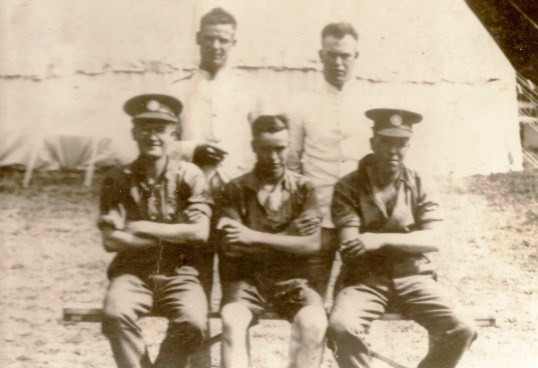 Ramsey Soldiers on overseas duty.( Front)  Mid, Richard & Sid Pilkington( Rear) Jack Pilkington, Bill Baldwin.