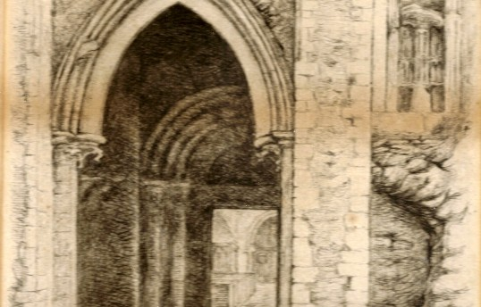 Bury Church. Western entrance during repair, changing as it originally existed. From a drawing by J A Poulter