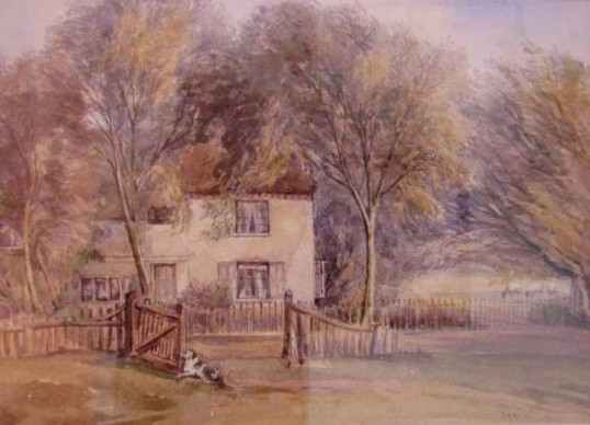 'Julians' Bury as two cottages from a painting by J A Poulter. Courtesy P Walker. 'Julians' Owls End Bury