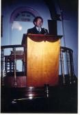 Pastor Marjoram preaching, inside Salem Baptist Church Ramsey.