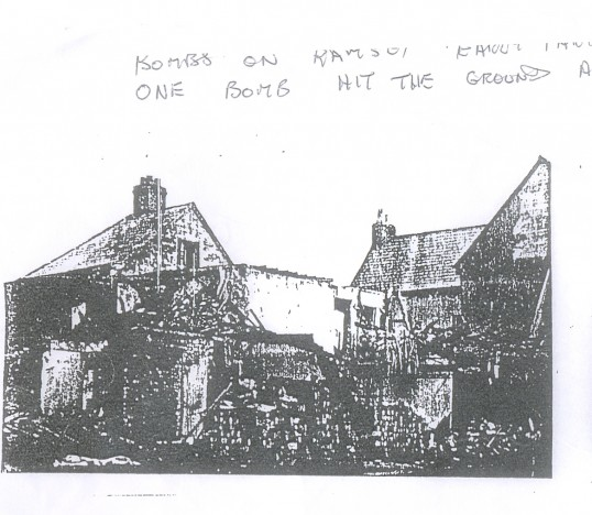 Bomb site on corner of Station Road and Field Terrace, now Whytefield Road Ramsey.