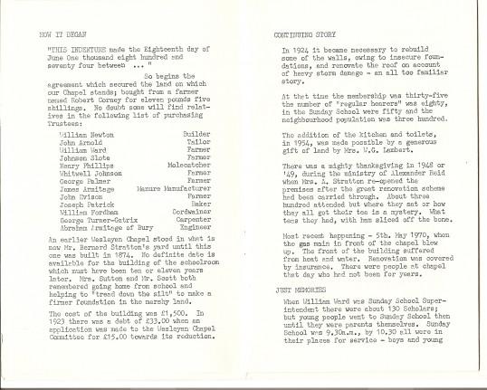 Ramsey St. Mary Methodist church 1874 - 1974Centenary souvenir brochure