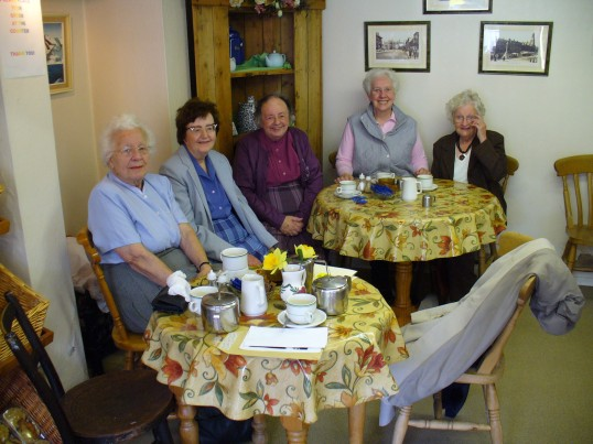 The Bury Art Group Celebrating, the eightfifth birthday of Gracey Tinkler,in Bonnets tea shop, Great Whyte Ramsey.