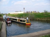 Canal boats at the Basin North bank, in Ramsey.