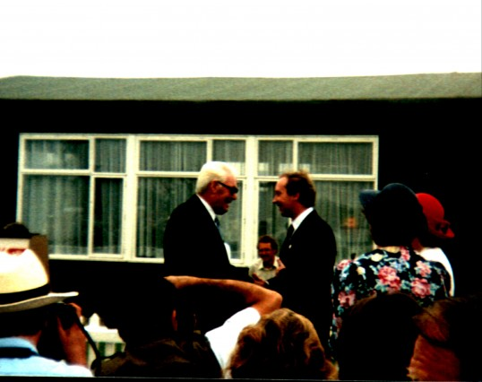 Ted Howard, receiving his 51 years long service medal for working on Mereside Farm, Ramsey Mereside, at the East of England Show, Peterborough