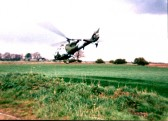 A visit by Tony Howard  in a Gazelle helicopter to Mereside Farm, Ramsey Mereside, son of Ted Howard