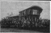 Ramsey Mereside school children, with school master Randle Parr. He lived in this wagon after his retirement.