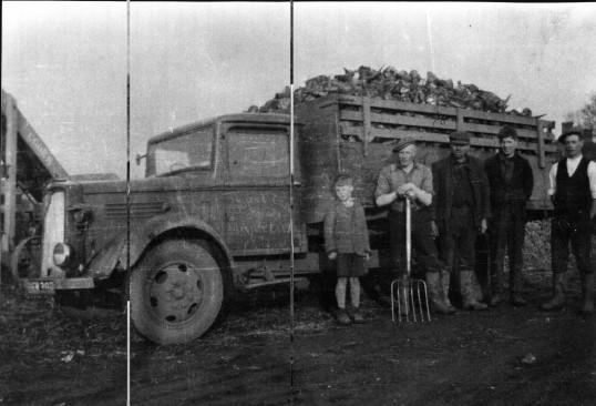 Ted Cade's  lorry,from Dairy Farm, Ramsey Mereside, loaded with sugar beet, John Cade, Leslie Machett, Mr Cumbridge, & Tony Cade of Ramsey Meresode.