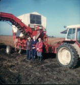 Grimme Potato Harvester at G.W.Jones's Ramsey Mereside Farm (l-R)Iris Weber, Mollie Howard, Sonia Parish.