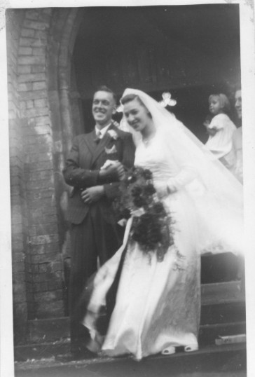 The wedding of John & Beryl Green, at Ramsey Parish Church