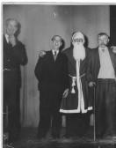 L to R, Geoffrey  Jones, Mr. Rowlands, of Ramsey.           George Fountain, (Father Christmas), Mereside. Jack Milner, Snr Mereside.