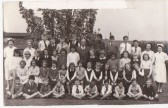 Mereside School children, with Mr Quincey Headmaster,  Mrs Qujncey Juniors Teacher,  Mrs Kirk, First year teacher.