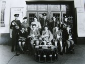 Ramsey Town Silver Band Young Players outside the Grand Cinema Ramsey 1953