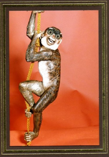 One of a pair of Monkeys that were attached to bell pullcords, in Ramsey Abbey House.  Sold when contents of the whole house were sold in 1931.