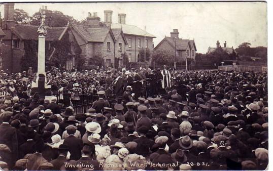 Unveiling of Ramsey War Memorial